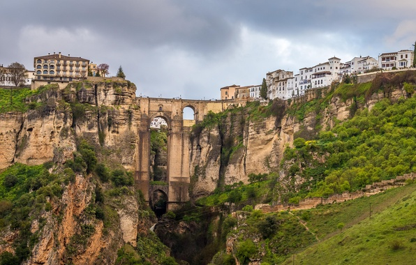 Picture the sky, bridge, the city, rocks, home, gorge, Spain, Malaga, Rhonda