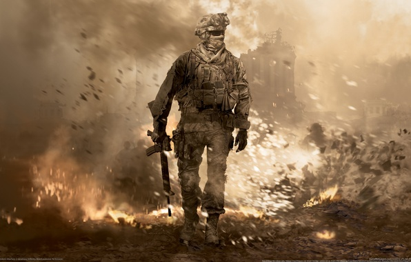 Photo wallpaper war, soldiers, modern warefare 2