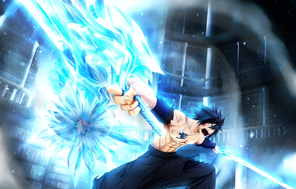 Picture ice, weapons, anime, art, battle, guys, swords, fairy tail, tale of fairy tail, gray fullbuster, …