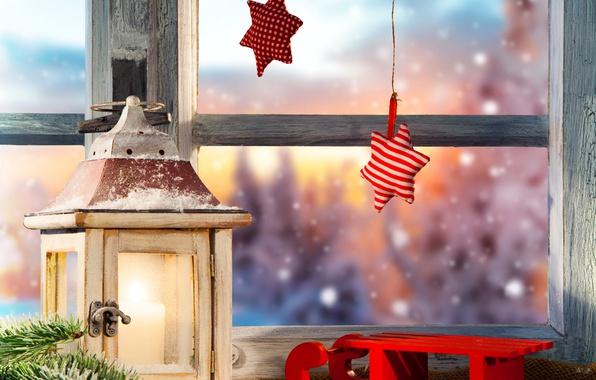 Picture winter, snow, tree, stars, window, lantern, New year, Christmas, sled, winter, snow, lamp