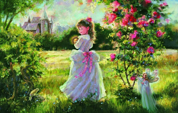 Picture grass, castle, magic, frog, roses, tale, fairy, Picture, girl, painting, Mary Baxter St. Clair