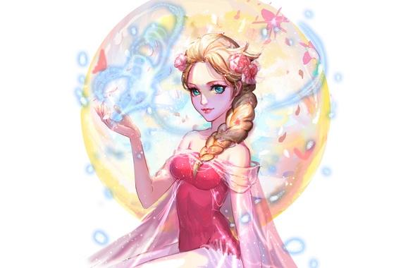 Picture girl, flowers, beauty, disney, elsa, frozen