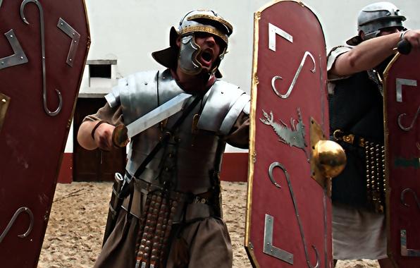 Picture background, sword, armor, Rome, helmet, male, shield, Legionnaire