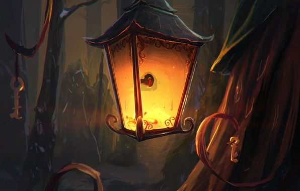 Picture forest, light, trees, key, art, lantern, painting