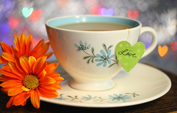 Picture love, flowers, lights, holiday, tea, heart, Cup, love, drink, heart, flowers, cup, holiday, drink, tea, …