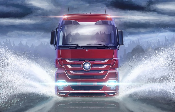 Picture road, light, nature, art, van, car, painting, the front, headlight, trailer, tractor, cargo, the truck, …