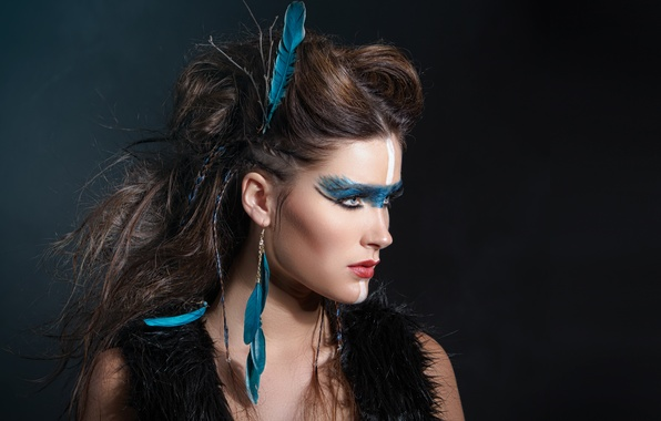 Picture girl, face, eyelashes, hair, feathers, makeup, hairstyle, lips, profile, cutie, paint