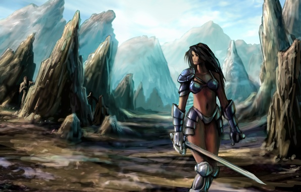 Picture girl, mountains, rocks, sword, armor