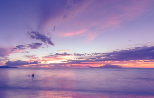 Picture sea, purple, the sky, water, clouds, nature, background, Wallpaper, people, wallpaper, sky, sea, widescreen, background, …