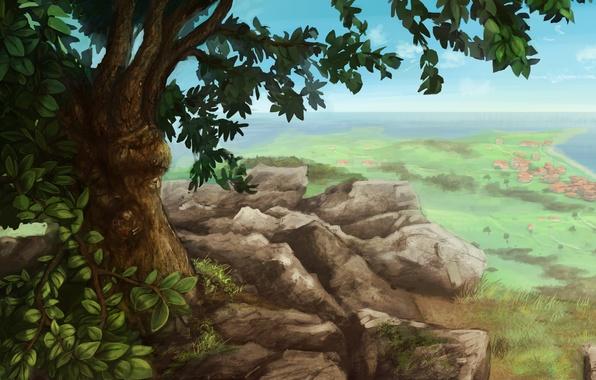 Picture landscape, stones, tree, rocks, view, home, settlement