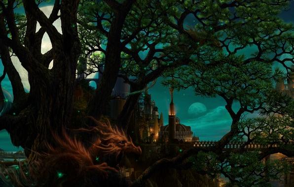 Picture night, bridge, the city, tree, the moon, dragon, planet, art, ucchiey, if kazama uchio