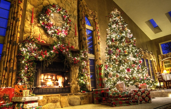 Picture house, new year, gifts, tree, fireplace