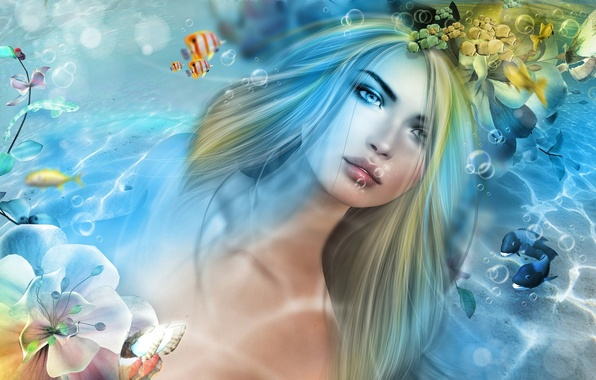 Picture water, girl, fish, mermaid