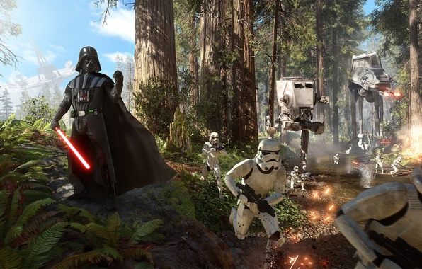 Picture forest, the sky, trees, clouds, battle, Darth Vader, Lightsaber, Darth Vader, stormtroopers, Electronic Arts, at-at, ...