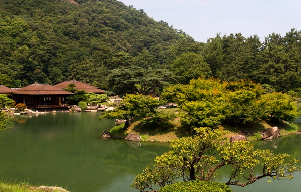 Picture greens, trees, pond, Park, Japan, the bushes, Takamatsu Ritsu? garden, gazebos