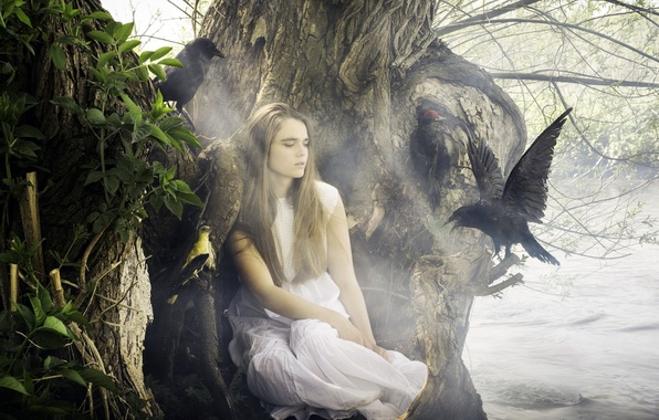Picture girl, birds, nature, lake