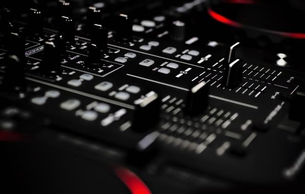Picture macro, the dark background, remote, mixer, hi-tech