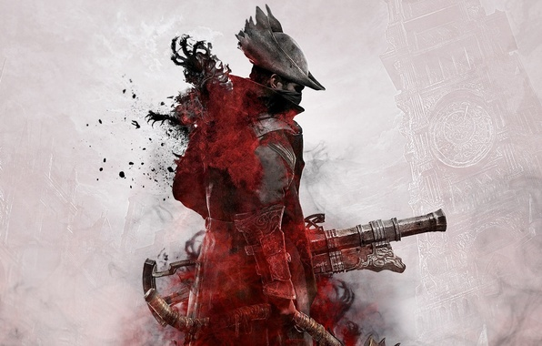 Picture The city, Blood, Weapons, Cloak, Hunter, From Software, Bloodborne