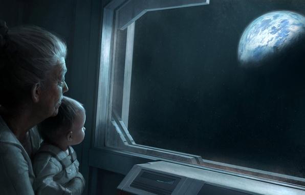 Picture glass, earth, planet, child, grandma, space