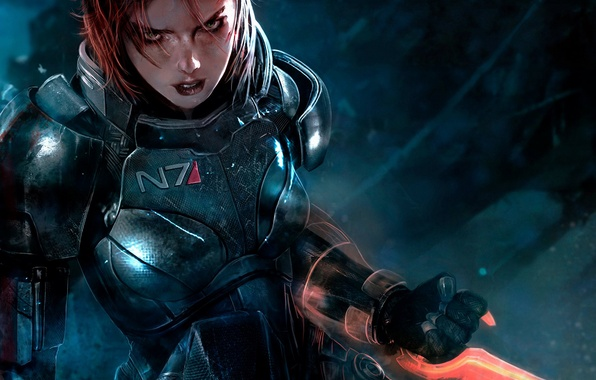 Picture the game, armor, game, Shepard, Mass Effect 3, Shepard, FemShep