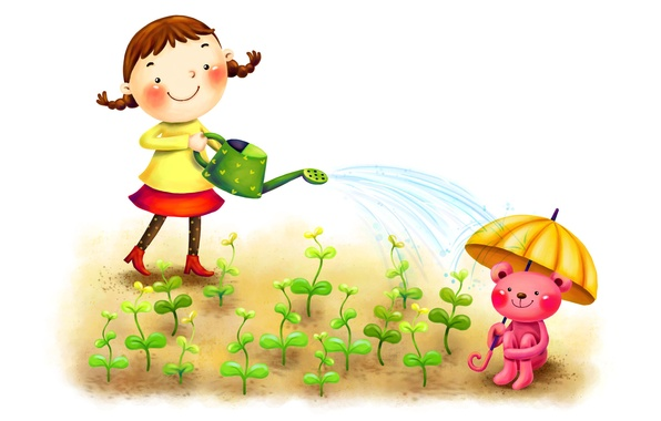 Picture sprouts, smile, umbrella, figure, girl, braids, lake, animal