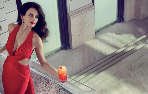 Picture girl, red, dress, actress, brunette, cocktail, Eva Green, Eva Green