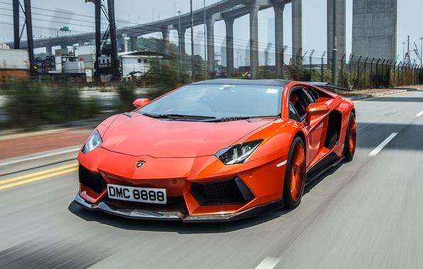 Picture road, bridge, movement, Lamborghini, front view, aventador, Aventador LP900-4 Molto Veloce