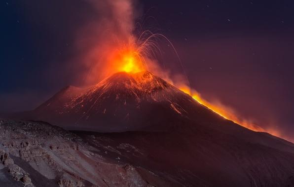 Picture nature, night, mountain, Etna, volcano, eruption, Sicilia