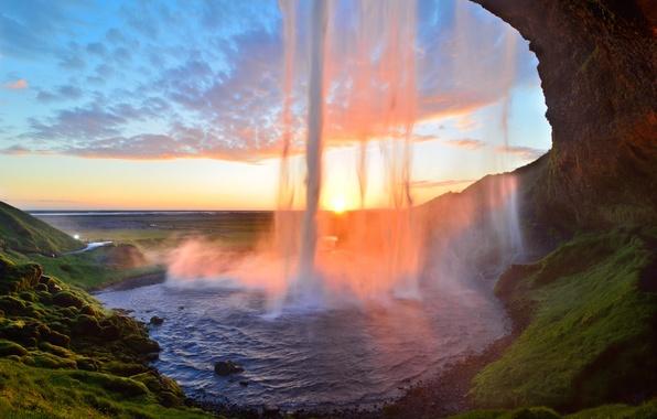 Picture sunset, waterfall, stream, Iceland, Iceland, Seljalandsfoss, Seljalandsfoss
