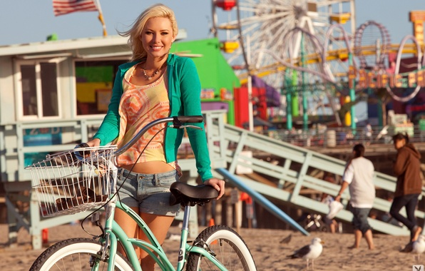 Picture sand, bike, Park, mood, stay, model, shorts, Seagull, playboy, Mike, flag, blonde, beauty, is, jacket, …