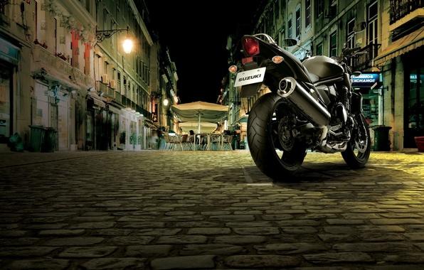 Picture street, motorcycle, cafe, bridge