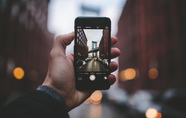 Picture winter, street, photo, iPhone, building, New York, cars, apartments, city, Manhattan bridge, United States, manual, …