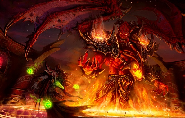 Picture fire, magic, elf, wings, monster, the demon, battle, wow, world of warcraft