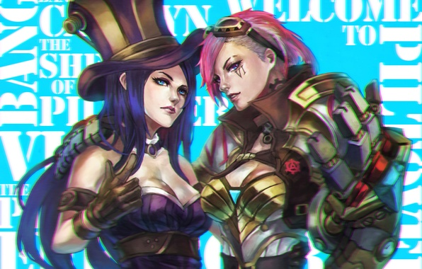 Picture girls, art, beauty, League of Legends, Caitlyn, Sheriff of Piltover, Piltover Enforcer
