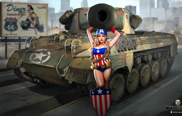 Photo wallpaper Nikita Bolyakov, art, M18 Hellcat, blonde, road, helmet, the city, World of Tanks, figure, girl, ...