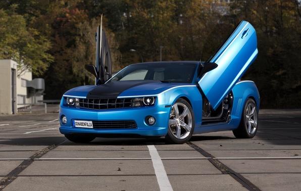 Picture tuning, Chevrolet, Camaro, Chevrolet, blue, open doors