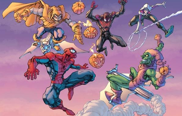 Picture green goblin, Spider-Man, Doctor Octopus, Spider-Gwen, Superior Spider-Man, Otto Octavius, Roderick Kingsley, Norman Osborn, Hobgoblin