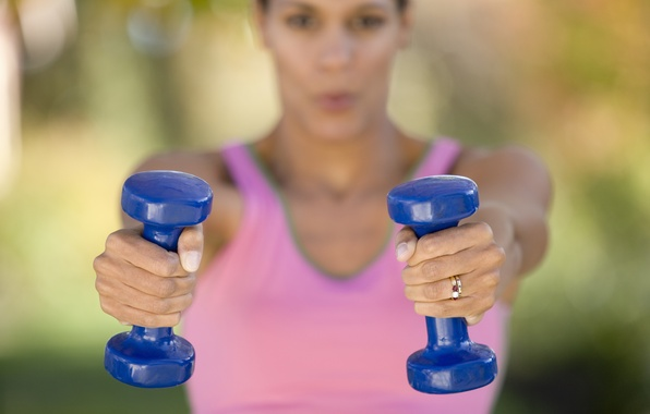 Picture woman, workout, fitness, dumbbells