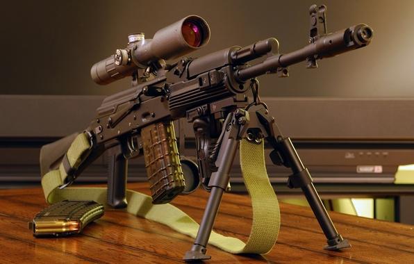 Picture Optics, Wallpaper, Weapons, Kalashnikov, Machine, Strap, Wallpapers, The handle, Firearms, Weapon, Kalash, Optical sight, Bipod, …