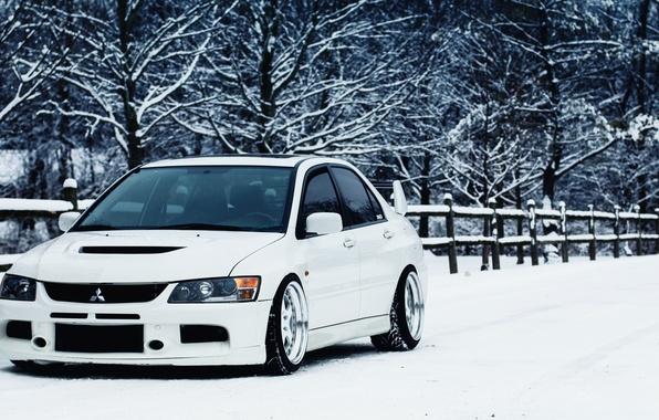 Picture winter, white, mitsubishi, lancer, evo, Lancer, Mitsubishi
