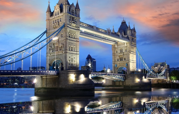 Picture the sky, water, clouds, sunset, lights, lights, reflection, England, London, the evening, Europe, UK, Thames, …
