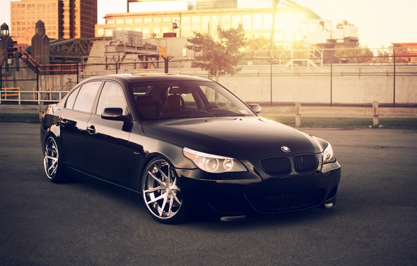 Picture the sun, the city, BMW, BMW, black, black, Blik, Sedan, E60, 5 Series, 545i