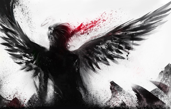 Picture blood, white background, male, angel wings, halo, short hair, sakimichan, monochrome