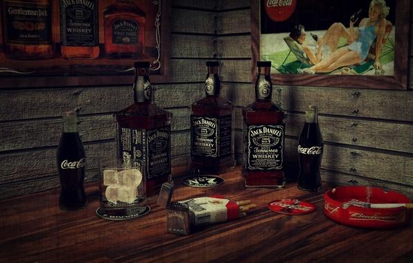 Picture ice, whiskey, smoking, bar, cigarette, bottles, Coca-cola, Jack Daniels, Marlboro, lighter, framework