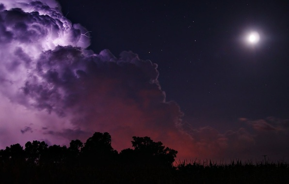 Photo wallpaper clouds, the moon, lightning