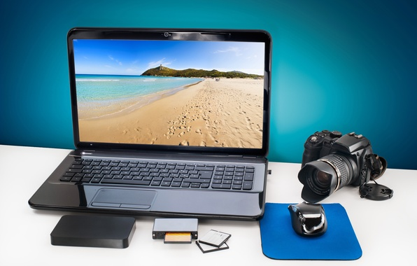 Picture card, landscape, table, mouse, the camera, hard, working, laptop, disk, camera, screen, camera, sea, hi-tech, …