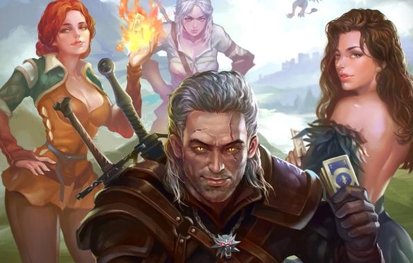 Picture art, witcher, geralt, Triss Merigold, Gwynbleidd, CD Projekt RED, The Witcher 3: Wild Hunt, Wild ...