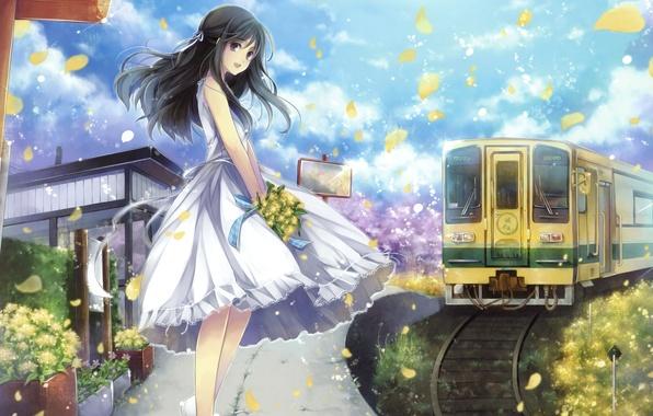Picture girl, joy, flowers, smile, train, bouquet, petals, dress, long hair, long hair, anime, art, hagiwara …