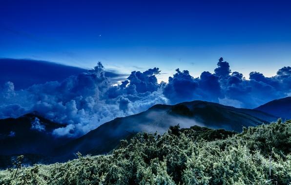 Picture star, sea, sunset, night, cloud, mountain, wave, moonlight, Taiwan