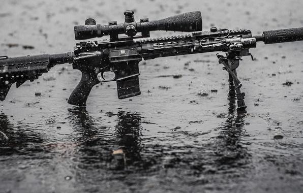 Picture wet, rain, water, assault rifle, tripod, telescopic sight